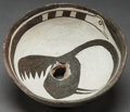 American Indian Art:Pottery, A MIMBRES BLACK-ON-WHITE FIGURAL BOWL. c. 1000 - 1200 A.D....