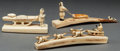 American Indian Art, THREE ESKIMO CARVED WALRUS IVORY ITEMS. c. 1950... (Total: 3 Items)