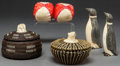 American Indian Art:Baskets, TWO ESKIMO BALEEN BASKETS AND A PAIR OF CARVED IVORY PENGUINS. c.1945... (Total: 4 Items)