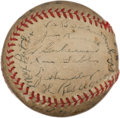 Autographs:Baseballs, 1945 Pittsburgh Pirates Team Signed Baseball with Honus Wagner....