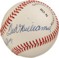 Autographs:Baseballs, 1980's Ted Williams & Bill Terry Dual-Signed Baseball....