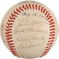 Baseball Collectibles:Balls, 1972 Old Timers' Day Multi-Signed Baseball with Hall of Famers....