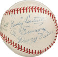 Autographs:Baseballs, 1955 Hall of Fame Induction Ceremonies Multi-Signed Baseball withDiMaggio, PSA/DNA NM-MT 8....