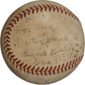 Autographs:Baseballs, Circa 1940 Walter Johnson & Ed Walsh Signed Baseball....