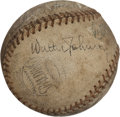 Autographs:Baseballs, Circa 1940 Walter Johnson, Roger Bresnahan & More SignedBaseball from Honus Wagner Estate....