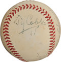 Autographs:Baseballs, 1950 Hall of Famers Multi-Signed Baseball with Cobb, Speaker, Baker....