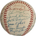 Autographs:Baseballs, 1956 Cincinnati Reds Team Signed Baseball....