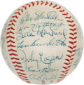 Autographs:Baseballs, Circa 1957 Milwaukee Braves & Others Signed Baseball from WesCovington Estate....