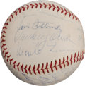 Autographs:Baseballs, Circa 1950 Hall of Famers Multi-Signed Baseball with Hornsby and Bottomley....