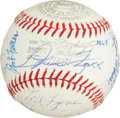 Autographs:Baseballs, 1965 Hall of Fame Induction Multi-Signed Baseball with Foxx andGreenberg....