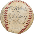 Autographs:Baseballs, 1934 Tour of Japan Team Signed Baseball Used for First Pitch inManila....