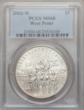 Modern Issues, 2002-W $1 West Point Silver Dollar MS68 PCGS. PCGS Population(103/4859). NGC Census: (31/4278). Numismedia Wsl. Price for...