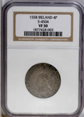 Ireland: , Ireland: Elizabeth I 4 Pence 1558, Spink 6504, VF30 NGC, toned with ragged edges from oxidation. (The incorrectly gives the Spink num...