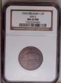 Ireland: , Ireland: Free State 1/2 Penny 1933, KM2, MS65 Brown NGC, glossy surfaces with considerable original mint luster, very scarce in Mint ...