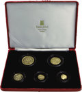 Isle of Man: , Isle of Man: Gold Angel 5-piece Proof set 1984, 1/20, 1/10, 1/4, 1/2, and 1 ounce, all are Gem Proof in the original slightly tattered ca... (Total: 5 Coins Item)
