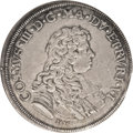 Italy: , Italy: Tuscany. Cosimo III Piastre 1676, Dav-4209, AU58 NGC. Anaverage strike with lead-gray toning and a small edge clip between...