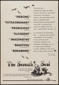 "The Seventh Seal & Other Lot (Janus, 1958). One Sheet (27"" X 41"" & 28"" X 41"") Review..."