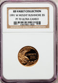 Modern Issues: , 1991-W G$5 Mount Rushmore Gold Five Dollar PR70 Ultra Cameo NGC.Ex: US Vault Collection. NGC Census: (1665). PCGS Populati...
