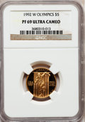 Modern Issues: , 1992-W G$5 Olympic Gold Five Dollar PR69 Ultra Cameo NGC. NGCCensus: (550/1005). PCGS Population (2904/289). Mintage: 77,3...
