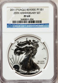Modern Bullion Coins, 2011-P $1 Silver Eagle, 25th Anniversary Set, Reverse Proof PR69NGC. NGC Census: (1344/1843). PCGS Population (954/702). ...