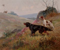 Fine Art - Painting, European:Antique  (Pre 1900), EUGÈNE PETIT (French, 1839-1886). Landscape with Pointer andSetter. Oil on canvas. 15 x 18 inches (38.1 x 45.7 cm). Sig...