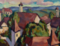 Fine Art - Painting, American:Modern  (1900 1949)  , VACLAV VYTLACIL (American, 1892-1984). Munich Rooftops,1923. Oil on board. 14 x 18-1/2 inches (35.6 x 47.0 cm). Signed,...