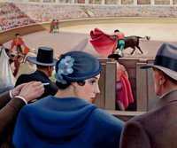 EDNA REINDEL (American, 1894-1990) The Bull Fight, circa 1936 Oil on canvas 25 x 30-1/4 inches (6