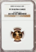Modern Bullion Coins, 2005-W G$5 Tenth-Ounce Gold Eagle PR70 Ultra Cameo NGC. NGC Census:(1601). PCGS Population (298). Numismedia Wsl. Price f...