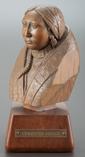 Fine Art - Sculpture, American, E. OLAH (American, 20th Century). Comanche Squaw. Wood. 9inches (22.9 cm). Signed on base: E. Olah. THE HOGAN FAM...