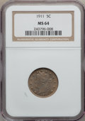 Liberty Nickels: , 1911 5C MS64 NGC. NGC Census: (436/191). PCGS Population (509/246).Mintage: 39,559,372. Numismedia Wsl. Price for problem ...