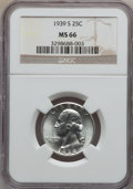 Washington Quarters: , 1939-S 25C MS66 NGC. NGC Census: (223/32). PCGS Population(285/25). Mintage: 2,628,000. Numismedia Wsl. Price for problem ...