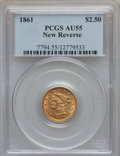 Liberty Quarter Eagles: , 1861 $2 1/2 New Reverse, Type Two AU55 PCGS. PCGS Population(134/826). NGC Census: (92/1562). Mintage: 1,283,878. Numismed...