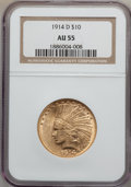 Indian Eagles: , 1914-D $10 AU55 NGC. NGC Census: (79/2404). PCGS Population(160/2093). Mintage: 343,500. Numismedia Wsl. Price for problem...