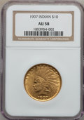 Indian Eagles: , 1907 $10 No Periods AU58 NGC. NGC Census: (810/5029). PCGSPopulation (850/4401). Mintage: 239,400. Numismedia Wsl. Price f...