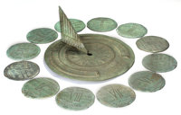 BRONZE GARDEN SUNDIAL AND CORRESPONDING HOUR PLAQUES ATTRIBUTED TO TIFFANY STUDIOS Circa 1925 Marks: TIFFANY S