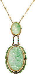 Estate Jewelry:Necklaces, Art Deco Jade, Pearl, Enamel, Gold Necklace. ...