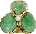Estate Jewelry:Rings, Jadeite Jade, Cultured Pearl, Gold Ring. ...