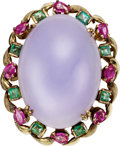 Estate Jewelry:Rings, Lavender Jade, Emerald, Ruby, Gold Ring. ...