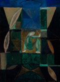 Texas:Early Texas Art - Modernists, KELLY FEARING (American, 1918-2011). Woman in AbstractComposition, 1947. Mixed media on board. 16 x 12 inches (40.6 x3...