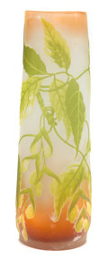 Art Glass:Galle, GALLE OVERLAY GLASS VASE . Yellow, brown and green glass in afloral pattern, circa 1900. Marks: Galle (cameo) (star).1...