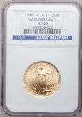 Modern Bullion Coins, 2007-W $25 Half-Ounce Gold Eagle Early Releases MS69 NGC. NGCCensus: (1177/2291). PCGS Population (984/506). Numismedia W...