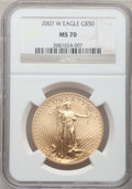 Modern Bullion Coins, 2007-W $50 One-Ounce Gold Eagle MS70 NGC. NGC Census: (1215). PCGSPopulation (204). Numismedia Wsl. Price for problem fre...