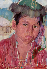 LEON GASPARD (American, 1882-1964) Mongolian Boy, 1921 Oil on artists' board 11 x 7-1/2 inches (2