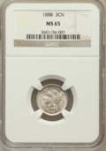 Three Cent Nickels: , 1888 3CN MS65 NGC. NGC Census: (63/46). PCGS Population (69/90).Mintage: 36,500. Numismedia Wsl. Price for problem free NG...