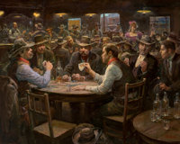 LAJOS MARKOS (Hungarian/American, 1917-1993) Western Literary Society Oil on canvas 24 x 30 inche