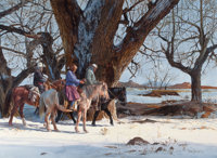 RAY SWANSON (American, 1937-2004) Winter Ride, 1976 Watercolor and gouache on board 21-1/4 x 29-1