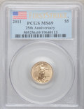 Modern Bullion Coins, 2011 G$5 Tenth-Ounce Gold Eagle 25th Anniversary, First Strike MS69PCGS. PCGS Population (1668/7526). ...