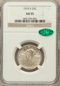 Standing Liberty Quarters: , 1919-S 25C AU55 NGC. CAC. NGC Census: (37/153). PCGS Population(50/206). Mintage: 1,836,000. Numismedia Wsl. Price for pro...