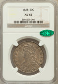 Bust Half Dollars: , 1828 50C Curl Base 2, No Knob AU55 NGC. CAC. NGC Census: (89/431).PCGS Population (98/236). Mintage: 3,075,200. Numismedia...
