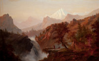 ALEXANDER FRANCOIS LOEMANS (Canadian/American, c.1816-1898) In the Rockies (Indians at Waterfall) Oi